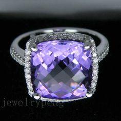 Solid 14k White Gold 4 15ct Diamond Purple Amethyst Engagement Wedding Ring | eBay