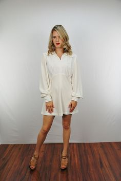 Vtg 70s White Lace Poet Sleeve Hippie Boho Festival Party Mini Dress s M | eBay