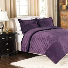 Plush Reversible Mink-to-Satin Quilt and Sham Set in Plum - BedBathandBeyond.com CLEARANCE King $64.99 1/4/2014