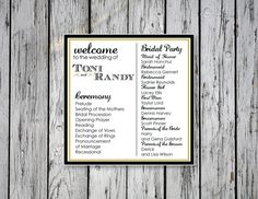 Simple Ceremony Program / DIY Printing by RejoiceGraphics on Etsy