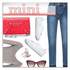 """""""Mini Bag"""" by firstboutique ❤ liked on Polyvore featuring Balenciaga, Brunello Cucinelli, Thierry Lasry, Neil Barrett, N°21, casual, red and Minime"""
