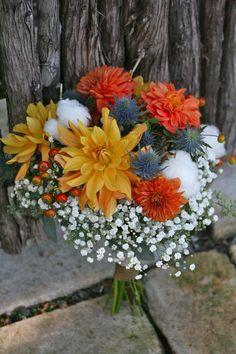 Rustic Fall Wedding Flowers, love the blue accent Vintage Wedding Flowers, Winter Wedding Flowers, Rustic Wedding Flowers, Wedding Flower Decorations, Fall Flowers, Flower Centerpieces, Wedding Bouquets, Flower Arrangements, Aisle Decorations