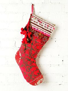 Patchwork Large Red Christmas Stocking - Cute Large Red Christmas Stocking #stocking #knitted #christmas #girls www.loveitsomuch.com