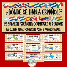 These Spanish-Speaking Country/Region labels are a great way to show your students how important it is to learn Spanish as well as introducing the exciting culture of the Hispanic world. This product places special emphasis on Spanish speakers and Hispanics in the United States as well, by including the 9 US states with the most Spanish speakers.