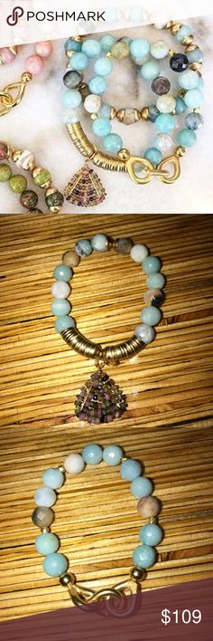 NEW!Catherine Page Triage Bracelet set in Rainwash NEW! Catherine Page Triage bracelet set in rainwash (stunning teal color)  - gorgeous real stones set in gold - 3 bracelets together ! Catherine Page Jewelry Bracelets