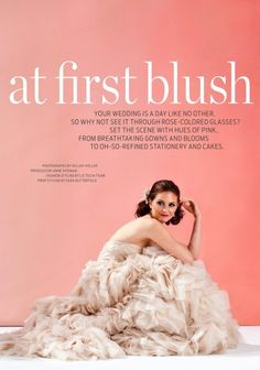 Blush colored wedding dress by Monique Lhuillier in Boston Weddings Magazine / styled by Liz Teich of http://dearandi.com