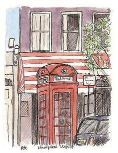 phone box on hampstead high street, London, UK