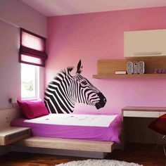 Large Animal Zebra Head Wall Sticker Decal Decoration Decorative Living Room Mural Vinyl Wide X High Default Black Color but 18 Colors Available Vinyl Wall Decals, Wall Sticker, Zebra Print Rooms, Zebra Decor, Jungle Room, Girls Bedroom, Zebra Bedrooms, Bedroom Ideas, Bedroom Decor
