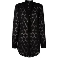Marcelo Burlon County Of Milan 'Tina' shirt (€245) ❤ liked on Polyvore featuring tops, black, sheer top, long-sleeve shirt, transparent top, sheer long sleeve top and long sleeve tops
