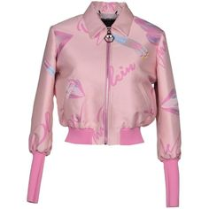 Philipp Plein Jacket ($1,310) ❤ liked on Polyvore featuring outerwear, jackets, pink, bomber style jacket, logo jackets, pink flight jacket, zip bomber jacket and philipp plein jacket