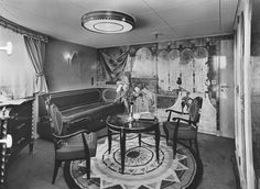 The Drawing Room of the First Class deluxe apartment Louisiane of the steamship Antilles of Compagnie Générale Transatlantique, more commonly known as The French Line. 1953. Image courtesy the private collection of John Cunard-Shutter.