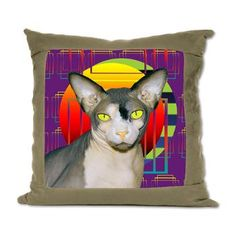 Suede Pillow Vamp Sphynx Cat (purple) Geometric