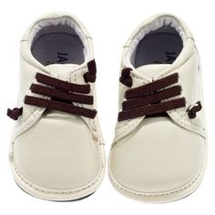 Jack and Lily Infant Boys Lace Shoes - Cream/Brown