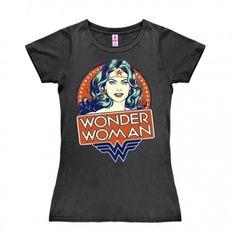 http://www.retrorush.com  Wonder Woman Portret DC Comics  Grey Logoshirt Ladies T-shirt