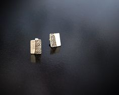 Silver square stud earrings with hand stamped decoration- Hand forged by Adamson Jewellery Sterling Silver Earrings Studs, Stud Earrings, Slave Bracelet, Natural Forms, Statement Rings, Anklet, Hand Stamped, Rings For Men, Chokers