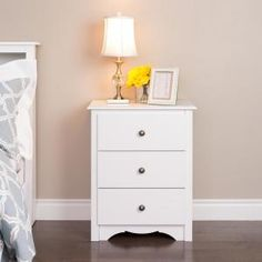 When you need storage, the Prepac Monterey 3 Drawer Nightstand is the perfect bedside companion. Three sturdy drawers, with solid pine sides,. Tall Nightstands, 3 Drawer Nightstand, White Nightstand, Nightstand Ideas, Furniture Deals, Bedroom Furniture, Home Furniture, Bedroom Decor, Furniture Outlet