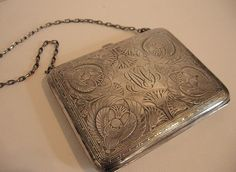 1920's Sterling Silver Engraved Coin Purse, Egyptian motifs and Greek key border