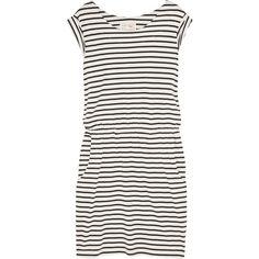 Aubin & Wills Ledsham striped cotton dress ($51) ❤ liked on Polyvore featuring dresses, slip on dress, elastic waist dress, cotton stripe dress, stripe dress and cap sleeve dress