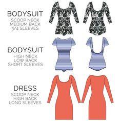 NETTIE DRESS & BODYSUIT $12.00 by CLOSET CASE PATTERNS. A PDF dress and bodysuit pattern with multiple sleeve & neckline variations.