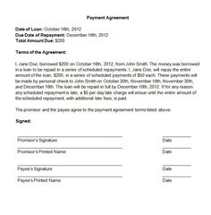 Best Images Example Payment Agreement Letter Sample Plan  Home
