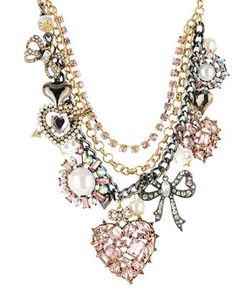 Betsey Johnson Necklace, Heart and Bow Multi Charm Statement Necklace