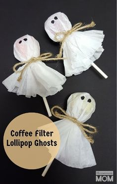 Whether you're the room momor the parent volunteerwho's been tasked with bringing afun, pre-packaged and nut freetreat for the Halloween class party,thesecoffee filter lollipop ghosts are so simple to make...it's scary. If you've got $5, approximately 8 minutes (give or take how sharp your scissors are), and two thumbs, you can crank out 24 of these ghastly goodlollies in no time at all.