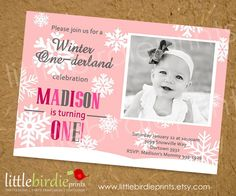 Ahhh! love it!! I was planning a winter wonderland for Finley's 1st birthday but I didn't think of this!! cute #snowflake invites #pinparty
