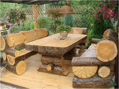Outdoor Log Furniture | Perfect outdoor furniture for a cabin! | Log Cabin Girl