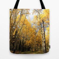 Golden Walk Through Aspen Lane Tote Bag