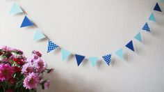 Blue Flag paper garland 10ft  Boy's Birthday by HelenKurtidu