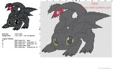 Toothless Dragon Trainer How To Train Your Dragon free cross stitch pattern