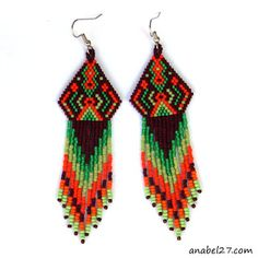 beaded earrings, seed bead earrings, ethnic boho hippie earrings jewelry for her beadwork peyote fringe earrings