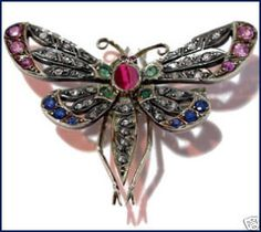 """""""Butterfly"""" Signature Victorian Collection....known for its international taste and appeal!    Victorian Inspired 1.20ctw Rose Cut Diamond& Gemstone Brooch. Imported, conflict-free, not pre-owned, not pawned, not stolen. We deliver worldwide <3"""