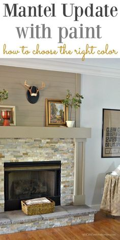 No longer is white the only color for a mantel. Update your room with the easy but effective room game changer! Click photo to see all the details. No longer is white t Fireplace Update, Shiplap Fireplace, Home Fireplace, Fireplace Remodel, Fireplace Surrounds, Fireplace Design, Fireplace Ideas, Fireplace Kitchen, Fireplace Outdoor