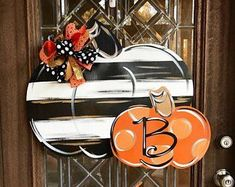 Wonderful Images Black and white Pumpkin door sign Pumpkin door hanger Fall wreath Fall door sign Rustic painted pumpkin Ideas Your individual door hanger Sure, the classic is needless to say the door pendant, by which on the f Wooden Pumpkins, White Pumpkins, Painted Pumpkins, Fall Pumpkins, Halloween Door Hangers, Fall Door Hangers, Initial Door Hanger, Painted Doors, Painted Signs