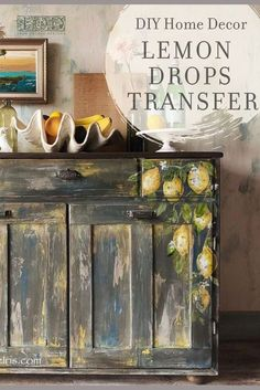 Handpainted sideboard by Turquoise Iris using IOD transfers.