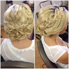 Blonde, updo, braid, curly bun, wedding hair, bridal hair, prom hair, homecoming hair, low bun, beautybyverlin