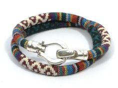 burgundy ethnic bracelet * green tribal fabric bracelet * ethnic cord bracelet * nautical hook bracelet * women fabric bracelet by CozyDetailz on Etsy