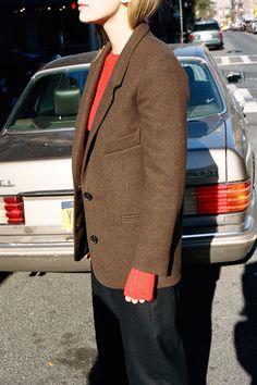 Lemaire Brown Wool Blazer via MNZ