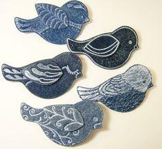 Happy Blue Bird PinMade Denim Jewelry BroochBlue by CreatingLady