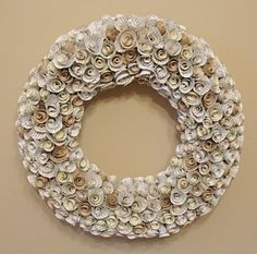 My Literary Roses wreath from old book pages.