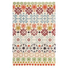 Liven up a neutral seating group or define space in the den with this hand-tufted New Zealand wool rug, showcasing a multicolor floral motif.