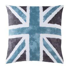 Taie d'oreiller ou de traversin drapeau anglais Coton Old FLag - Gris / bleu…