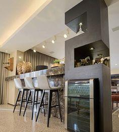 VERY modern contemporary kitchen - look at this wonderful idea for a kitchen storage column with the wine fridge! Mini Bars, Kitchen Interior, Kitchen Decor, Kitchen Design, Kitchen Storage, Sofa Layout, Sweet Home, Interior Architecture, Interior Design