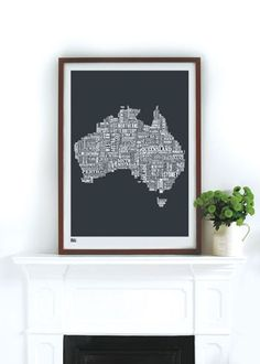 Australia Type Map in Sheer Slate - screen print by Bold and Noble