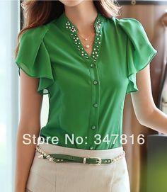 Nuevo 2014 de verano de moda de ocio camisa de la mujer v cuello flouncing manga corta blusa de gasa en de en Aliexpress.com                                                                                                                                                                                 Más