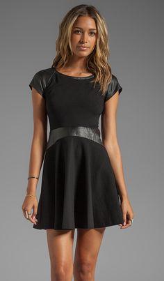 Diane von Furstenberg Delyse Leather Dress in Black | REVOLVE