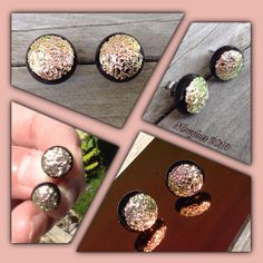 Rose Gold Crinkle textured on Black Fused Glass Stud by Mdwglass, $15.00
