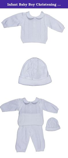 Infant Baby Boy Christening Baptism Long Sleeve Cable Knit Sweater Pant Hat 3Mo. Classic Boy's Cable Knit Sweater Pant Set for any year-round occasion. 3-Piece Cable Knit Peek-a-Boo Design Sweater & Cap with Basic Elastic Waist Knit Pant. Christening, Baptism, Blessing Set includes: Sweater with Rounded Split Collar, Pant and Cap. Classic gathered finished edge on sleeves, sweater waist and pant leg edge. Made in Columbia. Hand wash or machine wash. Tumble dry.