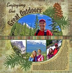The Great Outdoors Scrapping Page...with pictures in a circle.